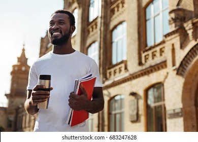 Bright determined guy enthusiastic about studying
