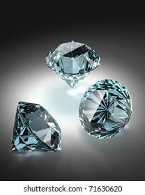 Bright diamonds group on dark background - 3d render image.