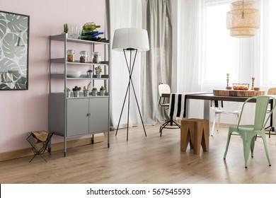 Bright dining room interior with modern design