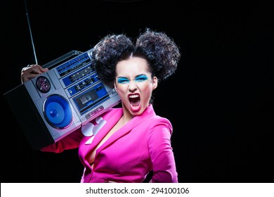 Bright disco girl with a tape recorder