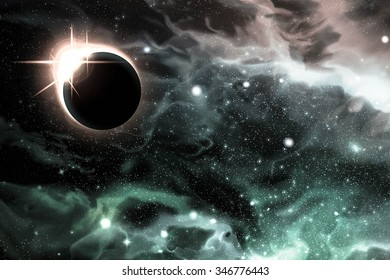 Bright eclipse starscape backdrop with colorful space clouds