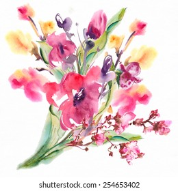 Bright exotic bouquet from flowers , drawn with watercolor paints.Album (new bouquets by a holiday from water color flowers)