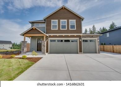Bright exterior of a custom home near Portland, Oregon