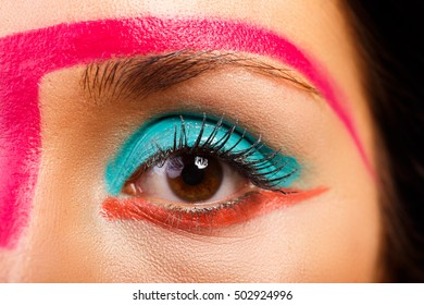 Bright eye make-up closeup