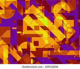 Bright eye-catching geometric digital image with rectangles and complementary colors.