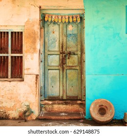 Bright facade of the traditional house, Tamil Nadu state, India.