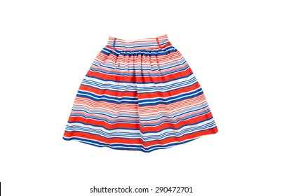 bright fashionable summer  skirt  for girl with blue, white and red stripes isolated on white