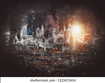 Bright fiery fireball from an explosion among skyscrapers in a city with burning debris and smoke littering the streets on a dark night