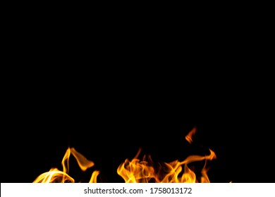 bright fire of barbecue on a black background