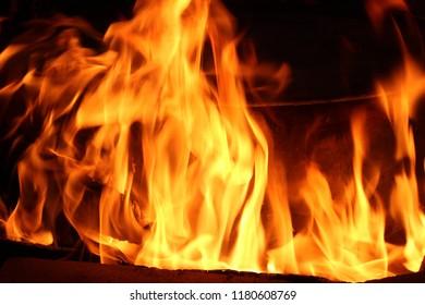 bright fire of bonfire