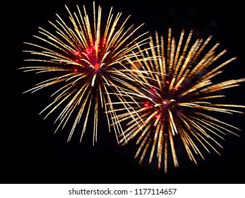 Bright fire works as a texture, defocused, black background