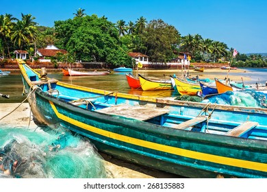bright fishing boats on the river bank in tropic with palms and blue sky. Goa, India