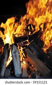 Bright flame of fire in dark