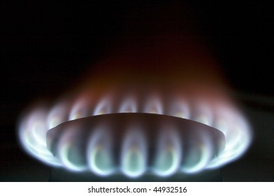 Bright flame of fire on a gas-furnace