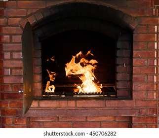 Bright flame of fire in shape of dragon, burns in a fireplace