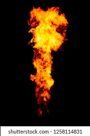 Bright flame pillar, powerful jet goes from flamethrower, isolated on black