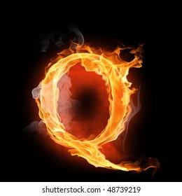 bright flamy symbol on the black background