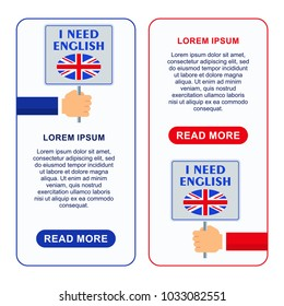 Bright flat banners with card for English language learning. Courses of foreign language, schools for studying British pronunciation. Information for site, social network, poster and flyer.