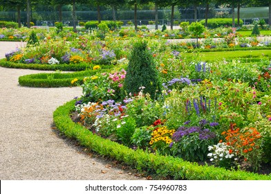 Bright flower bed in a summer park.