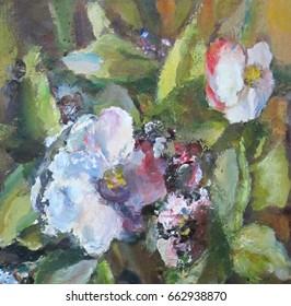 Bright flowers. Emotional modern painting