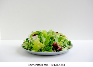 Bright fresh juicy raw salad greens. Escalora salad, frisee, radicchio, arugula salad in a gray plate on a white plate. Diet healthy food. Low-calorie, nutritious meal. Health care. Vitamin bowl.