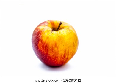 Bright fresh organic shimla apple or common Indian apple or himachal apple  isolated on white.