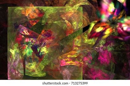 Bright funky abstract floral design for cloth or bandannas. Fractal picturesque panels on the wall, print and poster.