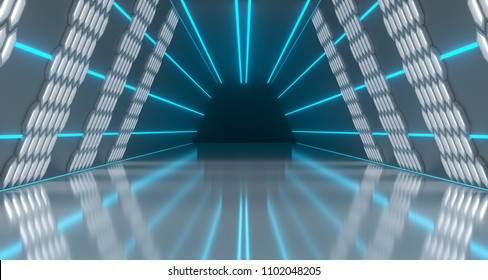 Bright Futuristic Long Sci-Fi Tunnel With Hexagon Lights And Reflective Floor. 3D Rendering Illustration