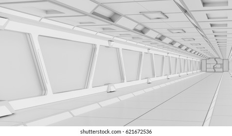 Bright futuristic spaceship corridor with modern lights 3D rendering