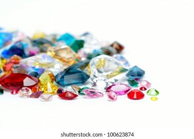 bright gems isolated on white background