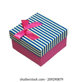 bright gift box with bow isolated on a white background