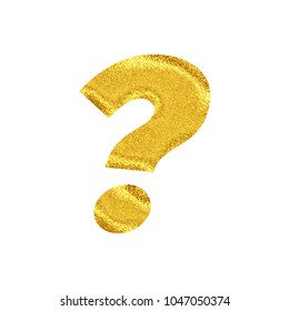 Bright glittery gold style question mark sign symbol in a 3D illustration with a vivid shiny sparkling golden color and basic bold font isolated on a white background with clipping path.