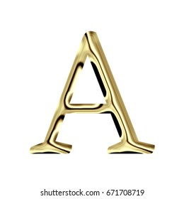 Bright glossy metallic gold surface uppercase or capital letter A in a 3D illustration with a golden color and shiny metal reflective classic font isolated on a white background with clipping path.