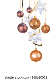 Bright gold Christmas balls isolated on the white background