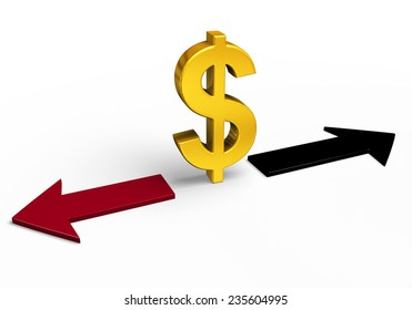 A bright, gold dollar sign stands between a red arrow pointing back towards losses and a black arrow pointing forward towards gains.  Isolated on white.