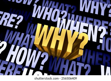 """A bright, gold """"WHY?"""" emerges from a 3D blue gray background filled with """"WHO?"""", """"WHAT?"""", """"WHERE?"""", """"WHEN?"""", """"HOW?"""", and """"WHY?"""" at different depths."""