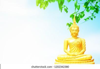 Bright golden Buddha statues sitting under Bo leaf and bluesky background.