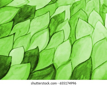 Bright green background of watercolor leaves