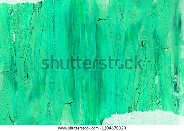 Bright green hand painted background with torn paper edges