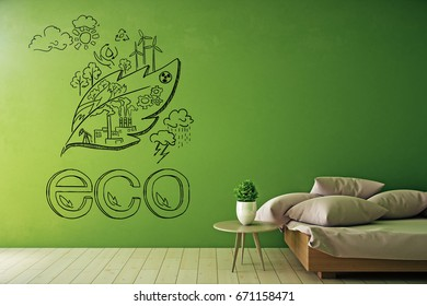 Bright green interior with sketch on wall, table with decorative plant and couch with cushions. Eco concept. 3D Rendering
