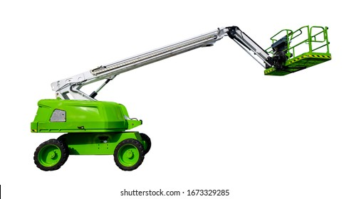 Bright green lifting platform or cherry picker, with arm partly extended, seen from the side. Isolated on a white background