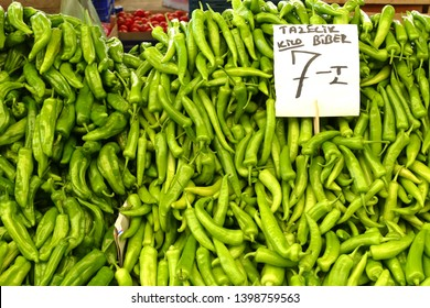 Bright green peppers in the central market of Canakkale, Turkey