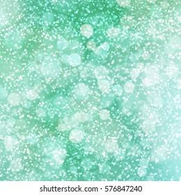 Bright green snowy bokeh background