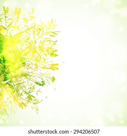 Bright green and yellow watercolor autumnal background with element of grass and leaves