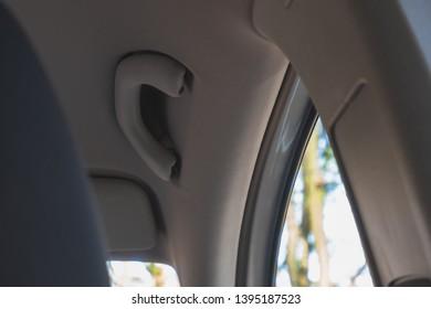 bright Grey Car Interior with Handle