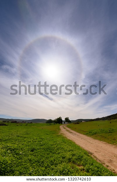 Bright 22°-ring halo phenomenon in high cirrus clouds in the atmosphere