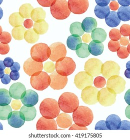 Bright hand drawn seamless pattern with colorful watercolor round stains. Awesome flowers made in watercolor technique