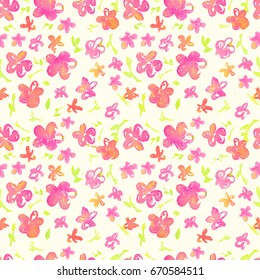 Bright and happy floral seamless Pattern. Watercolor pink flowers on a light yellow background and grunge texture. Fresh romantic design for invitation, wedding or greeting cards. Raster illustration