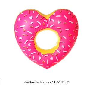 Bright heart-shaped inflatable ring on white background. Summer holidays