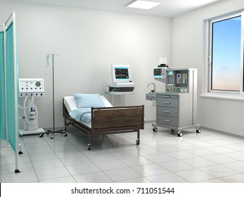 bright hospital room with equipment. 3d illustration